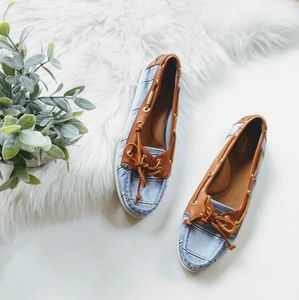 {Coach} blue and brown loafers
